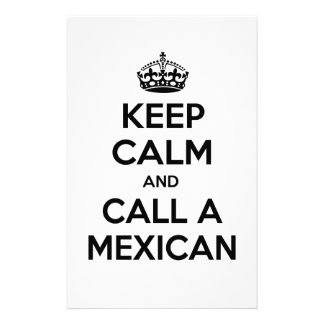 Keep Calm and Call a Mexican Custom Stationery
