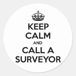 Keep Calm and Call a Surveyor Round Stickers