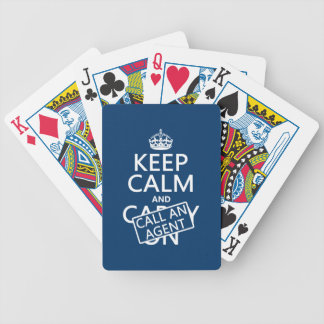 Keep Calm and Call An Agent Bicycle Playing Cards