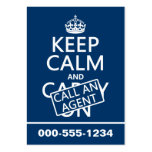Keep Calm and Call An Agent Large Business Cards (Pack Of 100)