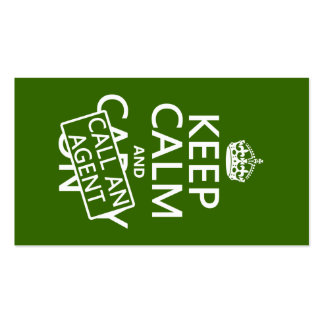 Keep Calm and Call An Agent (in any color) Business Card Templates