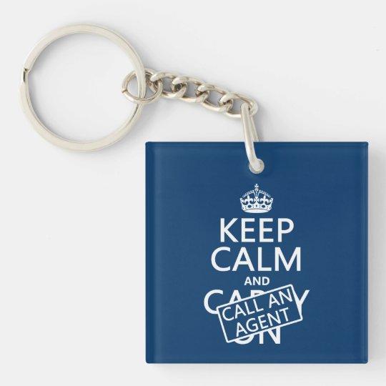 Keep Calm and Call An Agent Keychain