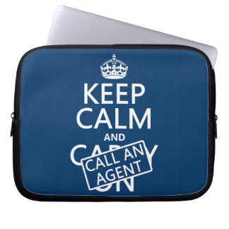 Keep Calm and Call An Agent Laptop Sleeve