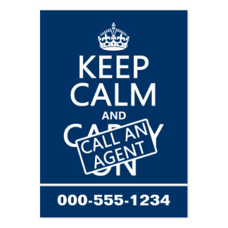 Keep Calm and Call An Agent Large Business Card