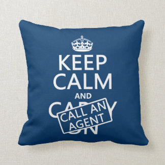 Keep Calm and Call An Agent Throw Pillow
