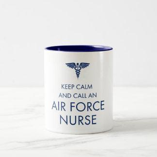Keep Calm and Call an Air Force Nurse Two-Tone Coffee Mug