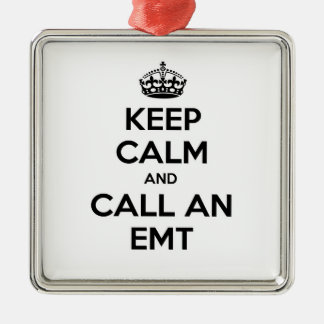 Keep Calm and Call an EMT Square Metal Christmas Ornament