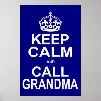 Keep Calm and Call Grandma Poster