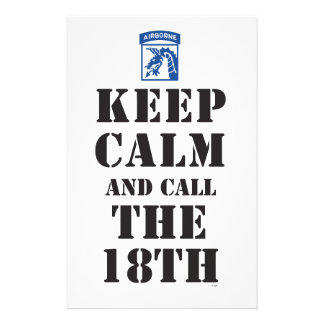 KEEP CALM AND CALL THE 18TH STATIONERY