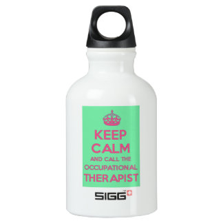 Keep Calm  and Call the Occupational Therapist Aluminum Water Bottle
