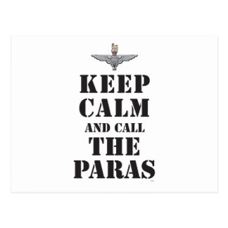 KEEP CALM AND CALL THE PARAS POSTCARD