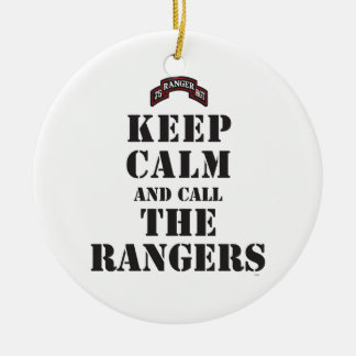 KEEP CALM AND CALL THE RANGERS CERAMIC ORNAMENT