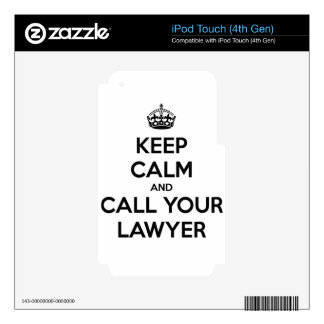Keep Calm And Call Your Lawyer iPod Touch 4G Decals