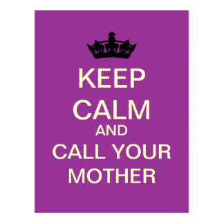 KEEP CALM And Call Your Mother Postcard (Lavender)