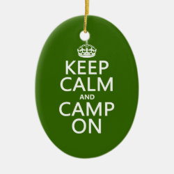 Oval Ornament with Keep Calm and Camp On design