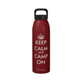 Keep calm and camp on Customizable water bottle