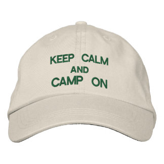 Keep Calm and Camp On Embroidered Baseball Caps