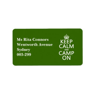 Keep Calm and Camp On Personalized Address Label