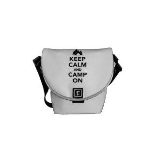 Keep calm and camp on messenger bag