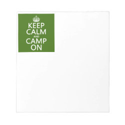 5.5' x 6' Notepad - 40 pages with Keep Calm and Camp On design