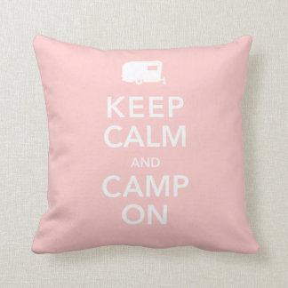 Keep Calm and Camp On - RV Queen of the Road Throw Pillows