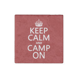 Marble Magnet with Keep Calm and Camp On design