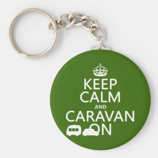 Keep Calm and Caravan On (customizable colors) Keychain
