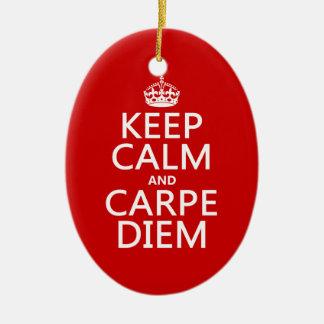 Keep Calm and Carpe Diem Ceramic Ornament