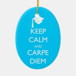 Keep Calm and Carpe Diem Graduation Cap Ceramic Ornament