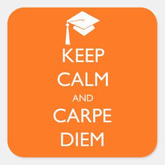Keep Calm and Carpe Diem Graduation Cap Square Sticker
