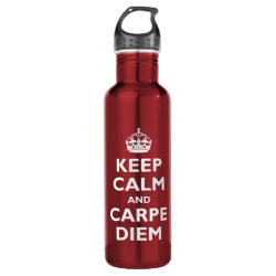 Water Bottle (24 oz) with Keep Calm and Carpe Diem design