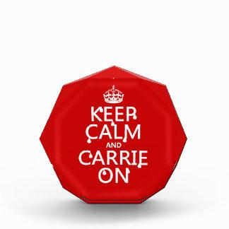 Keep Calm and Carrie On - blood - all colors Acrylic Award