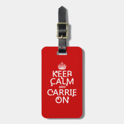 Small Luggage Tag with leather strap with Keep Calm and Carrie On design