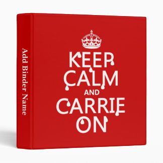 Keep Calm and Carrie On - blood - all colors 3 Ring Binder