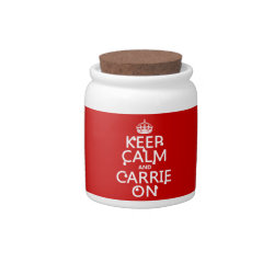 Candy Jar with Keep Calm and Carrie On design