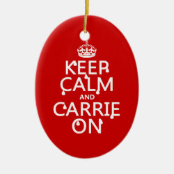Oval Ornament with Keep Calm and Carrie On design