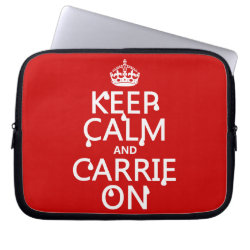 Neoprene Laptop Sleeve 10 inch with Keep Calm and Carrie On design