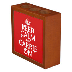 Desk Organizer with Keep Calm and Carrie On design