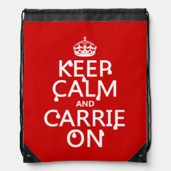 Drawstring Backpack with Keep Calm and Carrie On design