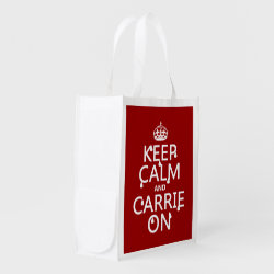 Reusable Grocery Bag with Keep Calm and Carrie On design