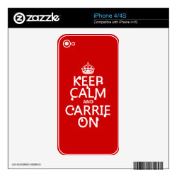 iPhone 4/4S Skin with Keep Calm and Carrie On design