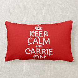 Throw Pillow Lumbar 13' x 21' with Keep Calm and Carrie On design