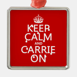 Keep Calm and Carrie On - blood - all colors Metal Ornament