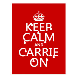 Postcard with Keep Calm and Carrie On design