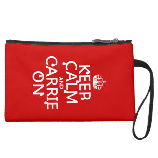 Keep Calm and Carrie On - blood - all colors Suede Wristlet