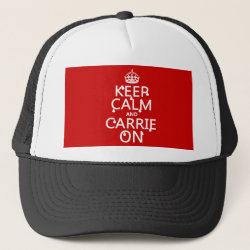 Trucker Hat with Keep Calm and Carrie On design