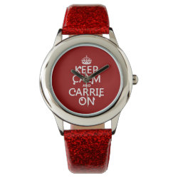 Kid's Red Glitter Strap Watch with Keep Calm and Carrie On design