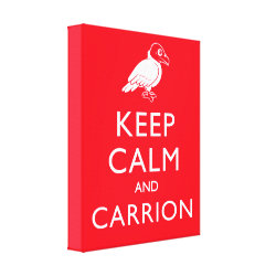 Premium Wrapped Canvas with Keep Calm & Carrion (vulture) design