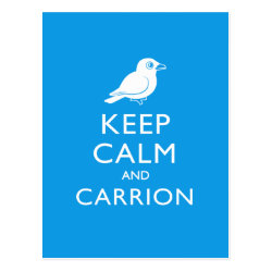 Postcard with Keep Calm and Carrion design