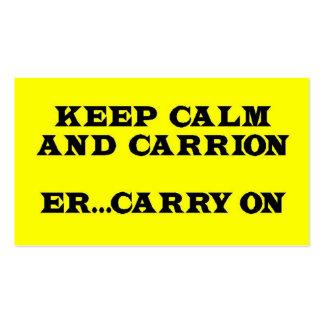 Keep Calm and Carrion, Er, Carry On Business Card